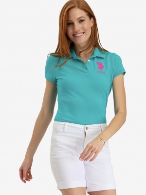 Поло U.S. POLO ASSN. printed shirt бирюза U.S. POLO ASSN